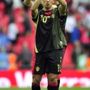 Belgium's midfielder Eden Hazard thanks the fans