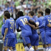 Chelsea teammates celebrating Eden's goal