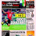 Eden Hazard on the frontpage of Gazzetta Dello Sport