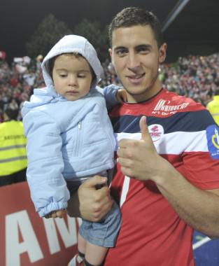Eden Hazard with his his first born son, Yanis Hazard