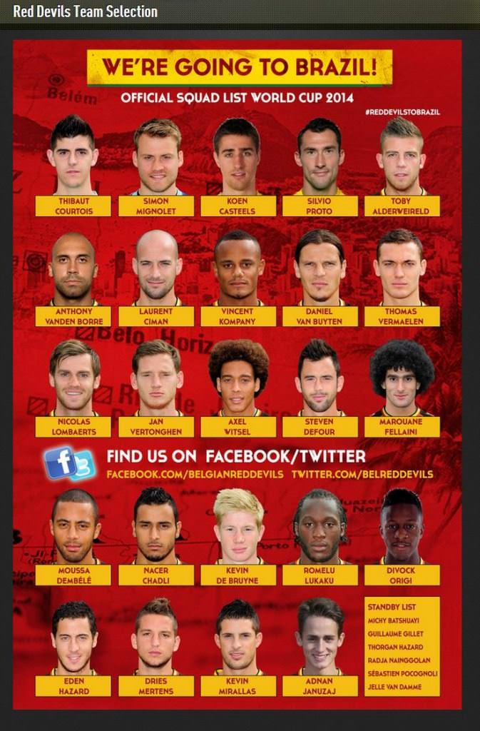 red devils team selection world cup 2014