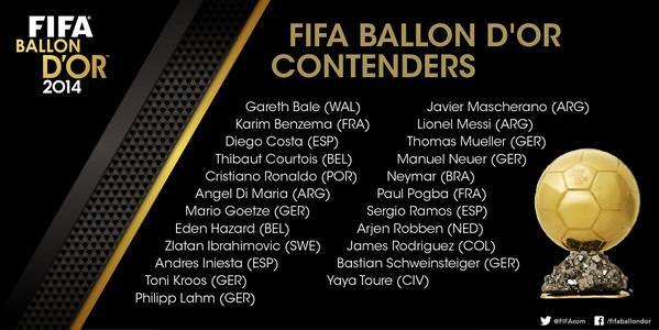 Eden Hazard on the list of FIFA Ballon Dor 2014 Nominees