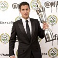 Eden Hazard holding the PFA Player of the Year 2014/15 trophy