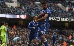 Diego Costa celebrating his goal.
