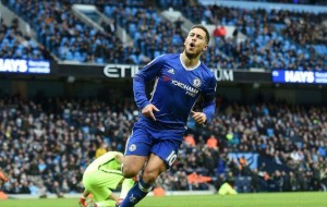 Hazard wheels away after finishing off Manchester City by scoring 3-1 on counterattack.